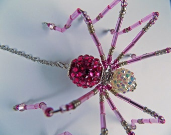 Fushia Irredescent Spider, Christmas Spider, Spiders, Beaded Spider, Beaded jewelry, Beaded Spiders, Beaded Ornaments