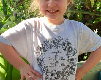 "Hand drawn ""Daughter of the King of Kings and the Lord of Lords"" little girls tri-blend tshirt- heathered light grey shirt with charcoal ink"