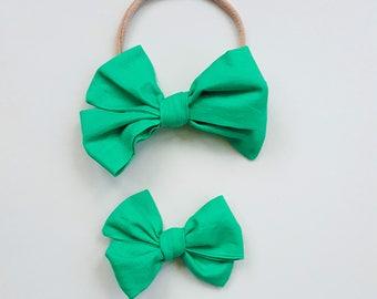 Lilypad green tied Emmie bow headband or clip