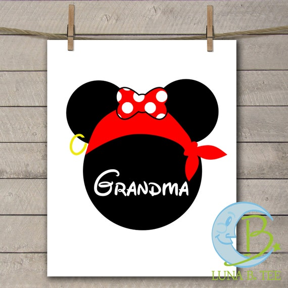 INSTANT DOWNLOAD Disney Family Vacation Cruise Pirate Night Grandma Shirts Printable DIY Iron On to Tee T-Shirt Transfer - Digital File