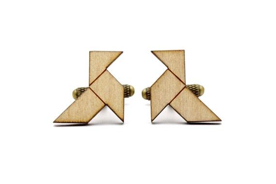 Paper bird cufflinks - origami bird cuffs - wedding accessory - lasercut maple wood - groom - bestman - graphic jewelry