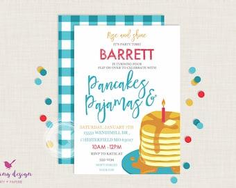 Pancakes and Pajamas Invitation / Pancakes and Pajamas Birthday / Breakfast Party / Pancake Party / Brunch / First Birthday / Thank You Card