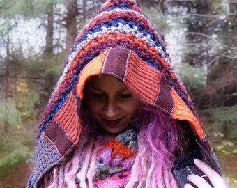 Crochet hood Crocheted woman hat with recycled sweaters Hat with stripes Pixie hood Handknit hat with patchwork Festival wear from Canada