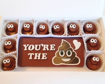 Poop Emoji Chocolates - Chocolate Poop Emoji - Fun Party Chocolates