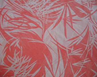 Vintage polyester sheer spongy knit fabric coral and white abstract 60 inches wide BTY