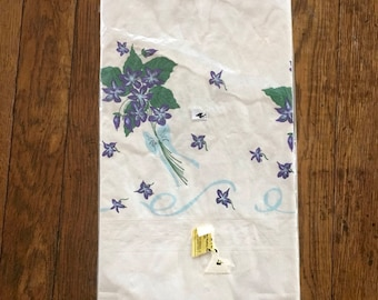 Vintage Paper Tablecloth 84 x 96 inches, Beech Products, In Package, 1970s, Violets, Purple, Party supplies