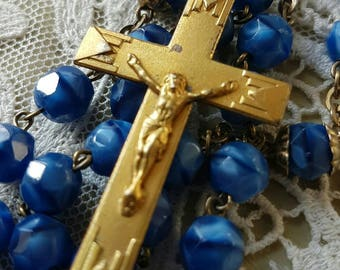 Stunning Antique French Religious Chic Shabby Faceted Two-Tone Blue Beaded Rosary Beads / Chapelet-Gorgeous Quality Vintage Rosary
