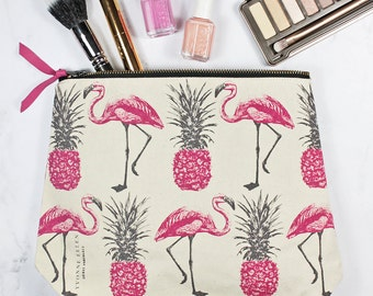 Flamingos and Pineapples Make Up Bag
