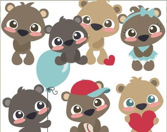 Bear Cubs Clipart -Personal and Limited Commercial Use- Kawaii Bears, Bear Cub Clip Art