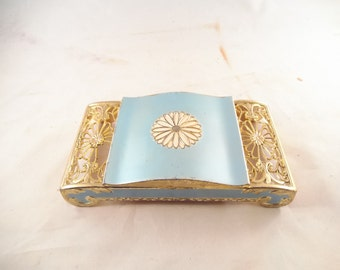 Metal Dresser Trinket Box, Mid-Century, Center Compartment, Gold Tone Metal, Blue Accents