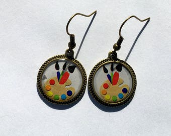 Painter Earrings Pallet Art Jewelry Artist Teacher Round Bronze Silver Picture 3D Dimensional
