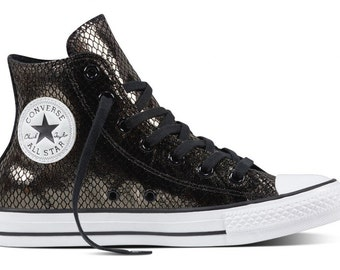 Black Leather Converse High Top Snake print w/ Swarovski Crystal rhinestone Custom Kicks Ladies Mens Chuck Taylor All Star Sneakers Shoes