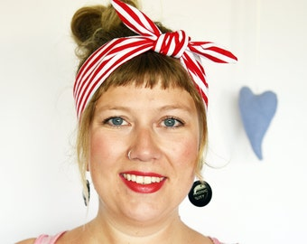 Rockabilly Headband. Red and white stripes. Beach stripes. Beach headband. Nautical style. Anchor pinup. Pin-up style. Retro head band.