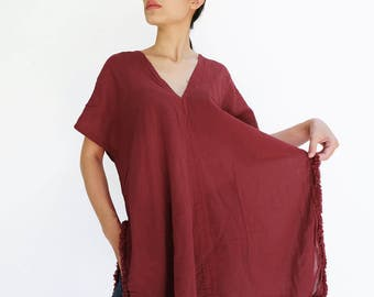NO.209 Deep Red Cotton Gauze V-Neck Top, Fringe Detail Kaftan Top, Bohemian Caftan Top