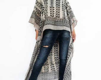 NO.134 Black and Beige Cotton Hand Printed Scarf Kaftan Top