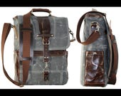 Vertical laptop messenger bag - leather handle and shoulder pad - 010045.2