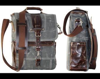 Vertical laptop messenger bag - leather handle and shoulder pad - 010045.2