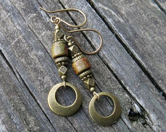 Boho dangle earrings - rustic moss green bead & antiqued bronze