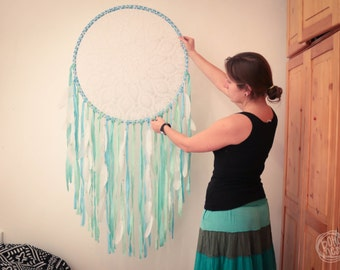 Extra Large Dream Catcher for Home Decoration, Wedding or Nursery Decor - Seaside - Bohemian Decoration, Crochet Dreamcatcher