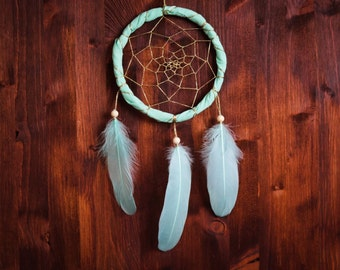 Dream Catcher - Magical Sea - With Sparkling Golden Web and Light Green Feathers - Boho Home Decor, Nursery Mobile