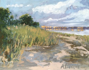 "Sunset, Hills Beach, Biddeford Pool. Oil painting, expressive, original, 8""X10"" unframed canvas, by Maine artist Adrienne Kernan LaVallee"