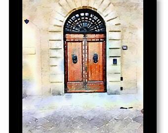 Watercolor Prints, Europe Church Door Print, Churches, Watercolor Door Art, Prints of Pictures of Doors, Watercolor Size 8x10
