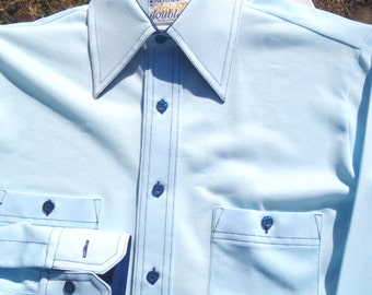 Vintage 1960s Light Blue Polyester Long Sleeve Shirt by Arrow Doubler M
