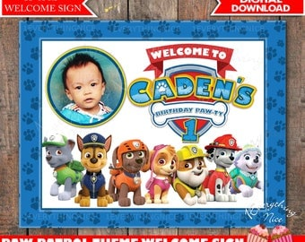 Paw Patrol Theme Birthday Welcome Sign Personalized Digital Download