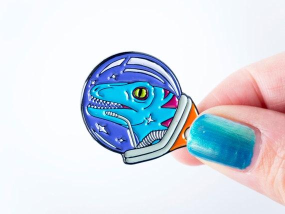 Velociraptor Astronaut Space dinosaur enamel pin. designosaur pin badge. soft enamel dinosaur pin. lapel pin. Spaceman dinosaur brooch.