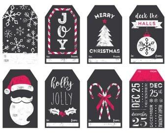 Faux Chalkboard Printable Christmas Gift Tags