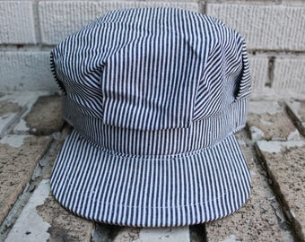Vintage RAILROAD Conductor Hat fitted Outdoor Pin Striped Vtg Trains Outerwear
