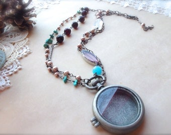 Romantic Jewelry, Assemblage Necklace, Locket Necklace, Furance Glass Jewlery, Double Strand Necklace *HOWMAUVeLOUS*
