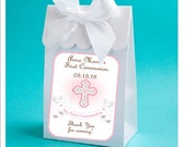 First Communion favor box - set of 12 personalized white girl 1st Communion favor boxes