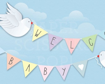 Weclcome Baby Banner, Baby Name Banner Pastel Nursery Decor, Printable Baby Shower Decor, Hearts, Baby Peace Dove, Gender Reveal Twin Babies