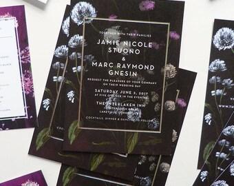 Silver foil, Deep contrast modern floral invitation and RSVP - custom wedding stationery