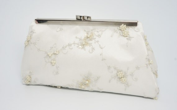 Ivory Pearl Beaded Bridal Wedding Clutch Purse - Gorgeous Vintage Style Bridesmaid/Evening/Formal Handbag - Crossbody Option - Made to Order