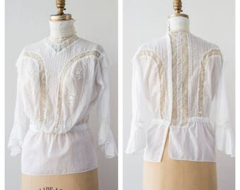 Antique Victorian Edwardian Hand Reproduced Swiss Blouse / 1890s 1900s 1910s Handmade Blouse Mint Condition / XS to S X Small to Small