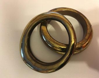 Vintage TARNISHED GOLD BANGLES/ Set of Two/One Size