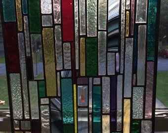 Geometric Abstract Linear Design Stained Glass Panel