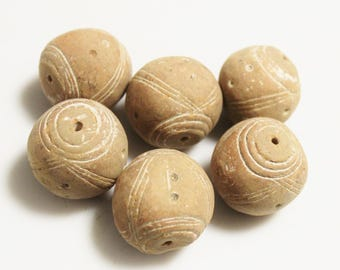 Large Terra Cotta African Beads From Mali, Tribal Beads, Ethnic Jewelry Supplies (AH244)