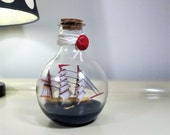Ship in a bottle, Ship in Round Model, Vintage Ship Gorch Fock, Collectible Sailing Boat, Nautical Decor, Home Decor