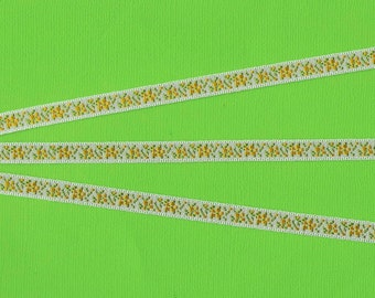 "FLORAL A-05-A Jacquard Ribbon Trim, Polyester, 1/4"" Wide, White Background with Bright Yellow Flowers & Green Leaves, Priced Per Yard"
