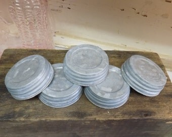 5 REPRODUCTION Galvanized Zinc Look Unlined Regular or Standard Mouth Canning Jar Lids For Crafts or Decor
