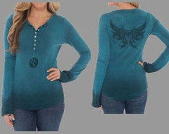 Stencil women's Henley with Monarch Butterfly graphic