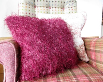 Hand Knitted Magenta/Pink Cushion/Pillow - 18 x 18 inches