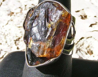 AMBER RING, Rough Danish AMBER, Size 9, Sterling Silver