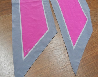 Vera tie scarf - long - pink and grey
