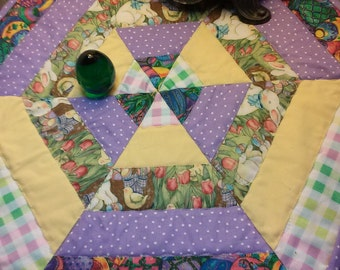 Easter Table Topper /Spring colors/Easter Eggs/Rabbits wall hanging.
