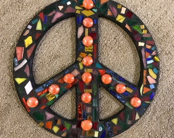 Mosaic Stained Glass 10 inch Peace Sign