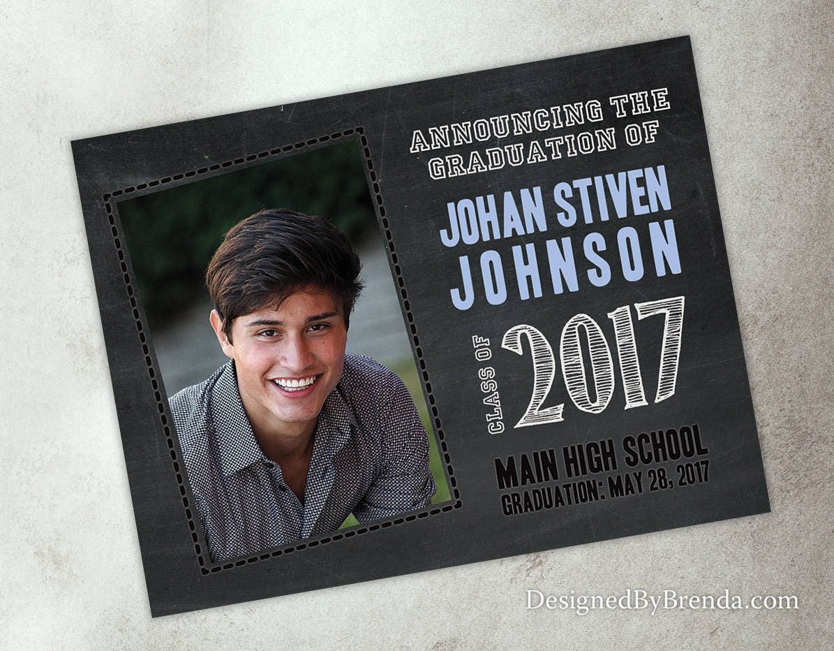 Chalkboard style graduation announcement invitation postcard w chalkboard style graduation announcement invitation postcard w photo on front back any colors filmwisefo